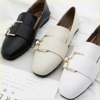 Low top shoes Other / other Square head Superfine fiber Flat bottom Low heel (1-3cm) Shallow mouth Superfine fiber Summer of 2019 Trochanter Britain Adhesive shoes Solid color rubber Lefu shoes Shallow mouth PU daily
