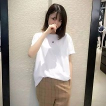 T-shirt Orange, white (FIT), white (loose) larger Size 2 / s, size 3 / m, size 5 / XL, size 4 / L Short sleeve Crew neck easy routine commute cotton 96% and above Simplicity youth Solid color Pinge Dixin 1100561-001