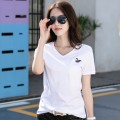T-shirt White V-Neck, white crew neck, black crew neck, black V-neck 2XL, 2 = s, 3 = m, 4 = L, 5 = XL Short sleeve Crew neck Self cultivation routine commute cotton 96% and above Simplicity youth Animal design Brother Embroidery