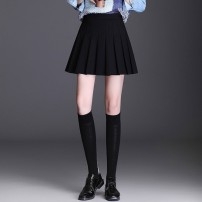 skirt Winter 2016 50. M, 2XL, XL, 3XL, 4XL, small size, please refer to the size chart or ask customer service black Short skirt commute High waist Pleated skirt Solid color Type A QQ2889 Brother amashi other Korean version