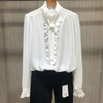 shirt White, Navy, black polyester fiber 96% and above Long sleeves Versatile Lotus leaf collar Single row multi button routine Solid color 35-39 years old Self cultivation Brother amashsin Bow, ruffle, lace