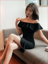 Dress Autumn 2020 black L,S,M,XL Short skirt singleton  Short sleeve commute One word collar High waist Solid color Ruffle Skirt Lotus leaf sleeve Others 18-24 years old Ruffle, three-dimensional decoration, asymmetric