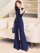 Casual pants Dark blue (belt) S M L Summer of 2018 trousers Jumpsuit High waist commute routine K84111 MISS FLY PERSONAL TAILOR other Korean version