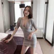 Dress Summer 2020 silvery L,S,M Short skirt singleton  Short sleeve commute V-neck Solid color routine Others Other / other Korean version