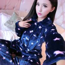 Pajamas / housewear set female Other / other M (80-105 kg), l (105-120 kg), XL (120-135 kg), XXL (130-155 kg) cotton Long sleeves Sweet pajamas winter thickening Small lapel Cartoon animation trousers Front buckle youth 2 pieces rubber string More than 95% Flannel printing 300g