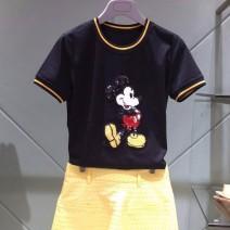 T-shirt black 5 = XL, 3 = m, 2 = s, 4 = L, 6 = 2XL Short sleeve Crew neck Self cultivation routine commute cotton 86% (inclusive) -95% (inclusive) Britain Brother amashsin