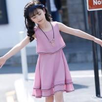 Dress Violet, white, pink female Other / other 150cm,130cm,140cm,160cm,110cm,120cm Other 100% summer princess Skirt / vest Solid color Chiffon Lotus leaf edge Class B 12 months