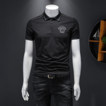 Polo shirt Versace Youth fashion routine white , black , Black long sleeve M , 2XL , L , XL , 3XL , 5XL , 4XL Extra wide go to work summer Short sleeve Exquisite Korean style routine youth character Cotton ammonia washing Embroidery