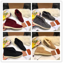 2020 women's LP leather winter high top snow boots women's Plush warm students' Non Slip wool boots flat bottomed thickened short boots