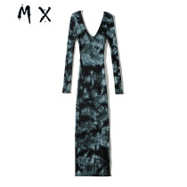 European style ins hottie sexy Self cultivation tie-dyed Double V-neck Medium and long term knitting Buttocks Dress Base skirt female 29