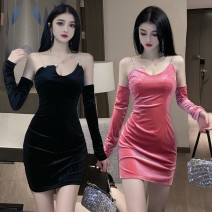 Dress Autumn 2020 Black, pink L,M,XL,S Short skirt singleton  Long sleeves commute One word collar middle-waisted Solid color zipper One pace skirt other Others Type H Korean version 81% (inclusive) - 90% (inclusive) corduroy