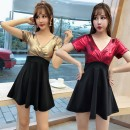 Dress Summer 2020 Silver, red, gold M,2XL,XL,L,S Short skirt singleton  Short sleeve commute V-neck middle-waisted Solid color zipper A-line skirt routine Others 18-24 years old Type A Other / other Korean version Splicing 71% (inclusive) - 80% (inclusive) other other