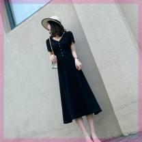 Dress Winter 2016 black L,S,M,2XL,XL longuette singleton  Short sleeve