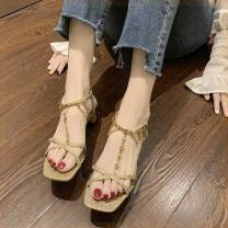Sandals 38,35,37,34,36,39 Off white, gold PU Other / other Barefoot Thick heel Middle heel (3-5cm) Summer of 2019 Flat buckle Korean version Solid color Adhesive shoes rubber daily Ankle strap Water drill, thick heel Low Gang PU PU Flat buckle Shaving