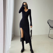 Spring and autumn French ins long sleeve split high waist dress female slim wrap hip long skirt knitted hollow one-step skirt