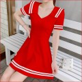 Dress Summer 2020 Black, white, red L,M,S,XL Middle-skirt singleton  Short sleeve commute middle-waisted Solid color Big swing routine 18-24 years old Type A Korean version