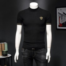 T-shirt Youth fashion Brown, grey, black routine 2XL,M,L,XL,3XL,5XL,4XL Versace Short sleeve Crew neck Super slim daily spring routine Business Casual other Solid color Embroidery mulberry silk Creative interest No iron treatment