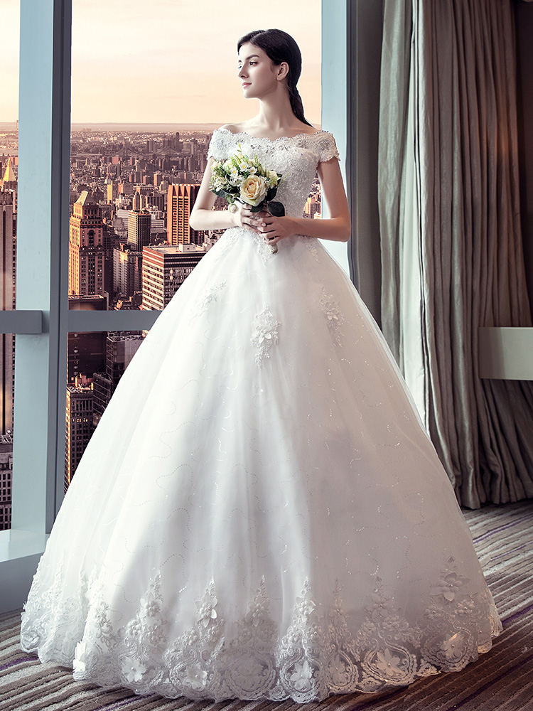Wedding dress Fall 2017 Qidi (package 1) Qidi (package 2) tailing (package 1) tailing (package 2) XXLSMLXL Korean version other Bandage Hotel Interior One shoulder Netting Three dimensional cutting YH17083 middle-waisted 18-25 years old Sequins Yi Ruo Xi Large size Pure e-commerce (online only)