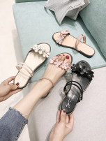 Sandals three hundred and fifty-three billion six hundred and thirty-seven million three hundred and eighty-three thousand nine hundred and forty Beige Pink Black H.C.J PU Barefoot Flat bottom Flat heel (1cm or less) Summer of 2018 Trochanter Korean version Solid color Adhesive shoes rubber daily
