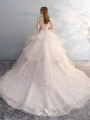 Wedding dress Winter 2017 The shallow champagne is flush with the ground, and the shallow champagne is 1 meter long SMLXL princess Long tail Bandage Hotel Interior One shoulder Lace Three dimensional cutting FE2136 middle-waisted 25-35 years old flower Sleeved shawl Man Shannon Large size