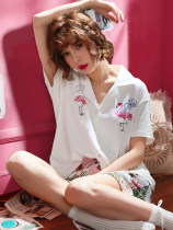 Pajamas / housewear set female Suigmont A1613 Flamingo 165016463153164731477164916511652a1640-1 strawberry a1612 lip 1614 little squirrel cotton Short sleeve Sweet Leisure home summer Thin money Small lapel Cartoon animation trousers double-breasted youth 2 pieces rubber string More than 95% printing