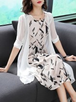 Dress Summer of 2018 Black and white rhombus MLXLXXL Long skirt street Two sets Short sleeve Round neck Color Middle waist Sleeve A-line skirt conventional Other /other Type A 30-34 years old LYQ9669193 Yihl / yihuilian printing other Silk 100% Pure electricity supplier (only online sales)