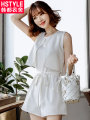 Casual pants white SML Summer of 2018 shorts Jumpsuit High waist commute Thin money 18-24 years old 91% (inclusive) - 95% (inclusive) JQ00821 belt