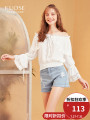 Lace / Chiffon Autumn of 2018 white SML Long sleeves commute Socket singleton  Regular One word collar Solid color other 18-24 years old Kuose / wide