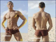 Men's swimsuit AUSSIEBUM Coffee corner black corner coffee triangle black corner M(2.0-2.2) L(2.2-2.4) XL(2.4-2.7) boxer Nylon spandex