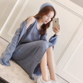 sweater Autumn of 2018 Average size Beige reddish brown haze blue Long sleeves Socket Two piece set Medium length other 71% (inclusive) - 80% (inclusive) V-neck commute routine Solid color Shawl type Keep warm and warm 18-24 years old Other / other FL18080703 Single breasted