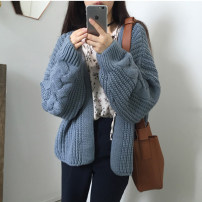 sweater Autumn of 2018 Average size Off white pink color card, light blue, dark blue Long sleeves Cardigan singleton  Regular acrylic fibres 95% and above V-neck thickening commute routine Solid color Straight cylinder Regular wool Keep warm and warm 18-24 years old acrylic fibres Single breasted