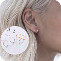Ear Studs Alloy / silver / gold RMB 1.00-9.99 Other / other 01 ා gold pair 02 ා silver pair brand new Europe and America female goods in stock other