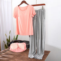 Pajamas / housewear set female Other / other M80-100kg, l100-115kg, xl115-130kg, xxl130-150kg other Short sleeve Simplicity Leisure home summer Thin money Crew neck Solid color trousers Socket youth 2 pieces rubber string 81% (inclusive) - 95% (inclusive) modal  200g and below