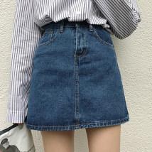 skirt Spring of 2018 S M L Blue black Short skirt commute High waist A-line skirt Solid color 18-24 years old 30% and below Denim cotton Pocket make old button zipper Korean version