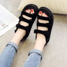Sandals 35 36 37 38 39 40 Off white black Other / other Suede Toenail Muffin bottom Middle heel (3-5cm) Spring of 2018 Velcro Korean version Solid color Sewing shoes Youth (18-40 years old) rubber daily Back space Shallow slope with muffin and waterproof platform Roman style Low Gang Lateral space PU