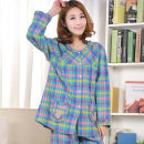 Pajamas / housewear set female Other / other L XL XXL Bear blue stripe long sleeve bear Red Plaid long sleeve bear rose red stripe long sleeve bear Purple Plaid long sleeve girl red plaid long sleeve Oliver long sleeve girl round neck Pink Plaid long sleeve cotton Long sleeves Cartoon spring routine