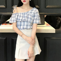 T-shirt Picture color Average size Summer of 2018 Short sleeve Slant collar Self cultivation Regular routine polyester fiber 51% (inclusive) - 70% (inclusive) 18-24 years old four point three zero Lotus leaf edge