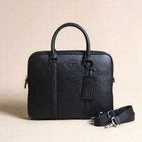 Men's bag Inclined shoulder bag cowhide PPD / Piper black brand new business affairs zipper hard in no Zipper hidden bag mobile phone bag certificate bag sandwich zipper bag Solid color nothing Single root youth Horizontal square genuine leather Hard handle 12 inches Cross carry top layer leather