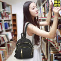Backpack oxford Yilinbao Black delireba brand new Small zipper leisure time Double root Japan and South Korea soft youth no Soft handle Solid color nothing female Water splashing prevention Trapezoid polyester fiber Zipper lock no 10 inches Baoer net bag 9905 Inner patch pocket