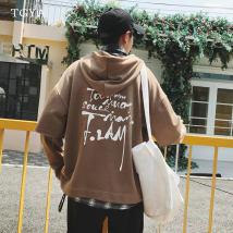 Sweater Youth fashion TGYA Grey black orange brown M L XL 2XL 3XL 4XL 5XL Socket painting routine Hood autumn easy leisure time Large size like a breath of fresh air Bat sleeve E-commerce a030 wy09 Terry cloth Cotton 50% polyester 50% printing No iron treatment Kangaroo pocket zipper