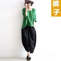 Casual pants black L [120 ~ 145 kg] m [80 ~ 120 kg] Summer 2017 Cropped Trousers Overalls Natural waist commute routine 51% (inclusive) - 70% (inclusive) Cotton blended fabric Korean version pocket cotton Asymmetry