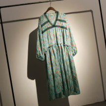 Dress Spring of 2018 Apricot blue Average size longuette singleton  Long sleeves street V-neck Loose waist Broken flowers Socket Big swing bishop sleeve Type X Fungus lace OK2025# 71% (inclusive) - 80% (inclusive) cotton Europe and America