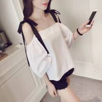 Lace / Chiffon Summer of 2018 Safety Pants White S M L XL 2XL Short sleeve commute Socket singleton  easy One word collar Solid color routine BOW STRAP