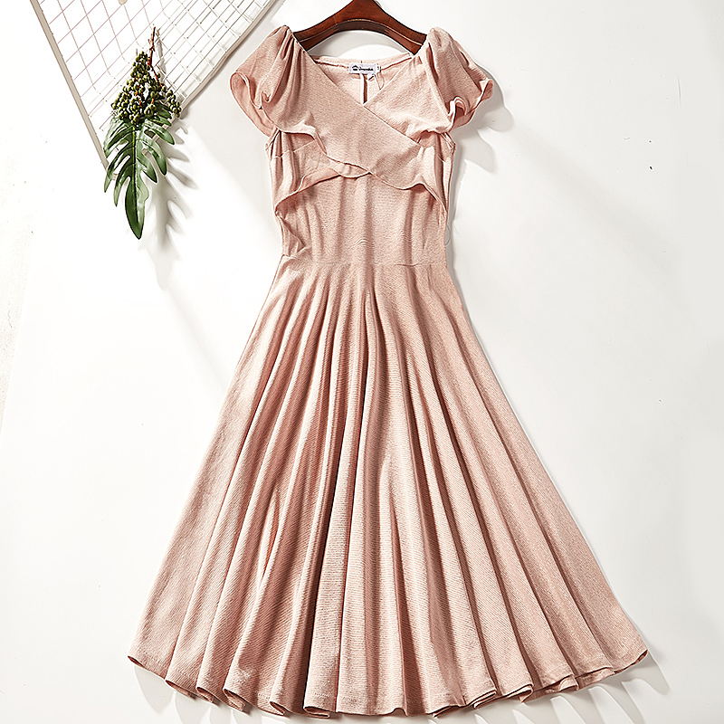 Dress Summer of 2018 A100-971 Pink S M Mid length dress singleton  Short sleeve Sweet V-neck middle-waisted Solid color Socket A-line skirt other