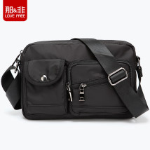 Men's bag Inclined shoulder bag oxford Love free / that & not Military black brand new leisure time Retro zipper soft Small yes Zipper pocket, mobile phone bag, certificate bag Solid color nothing Single root youth Horizontal square polyester cotton Sewing LF923 Three dimensional bag 10 inches
