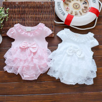 Jumpsuit / climbing suit / Khaki Growing up with a smile Class A neutral White pink 48CM suggestion 60 / s size 52cm suggestion 60 / s size 59cm suggestion 70 / M size 66cm suggestion L / 80 size 73cm suggestion L / 80 size other summer Sleeveless Trigonometry princess nothing Cotton 100% Socket