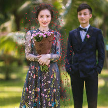 Wedding dress Spring 2017 Boutique women's wear Average size New trend One shoulder