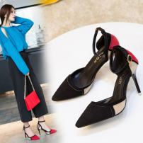 Low top shoes 34 35 36 37 38 39 40 41 Other / other Red Black Beige Sharp point Fine heel Suede Shallow mouth High heel (5-8cm) PU Spring of 2018 Flat buckle Korean version Adhesive shoes Youth (18-40 years old) Solid color rubber Single shoes PU