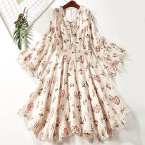 Dress Summer of 2018 Apricot 6976-a83 S M L Mid length dress singleton  Short sleeve commute V-neck middle-waisted Decor Socket A-line skirt Others