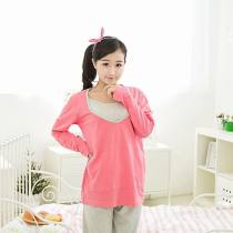 Pajamas / housewear set female Other / other M L Watermelon red cotton Long sleeves Leisure home spring routine Crew neck trousers Socket 2 pieces rubber string More than 95% Knitted cotton fabric